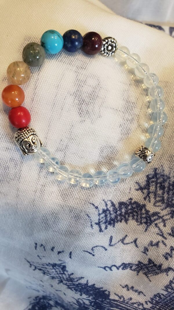 chakra bracelet with natural stones and buddha