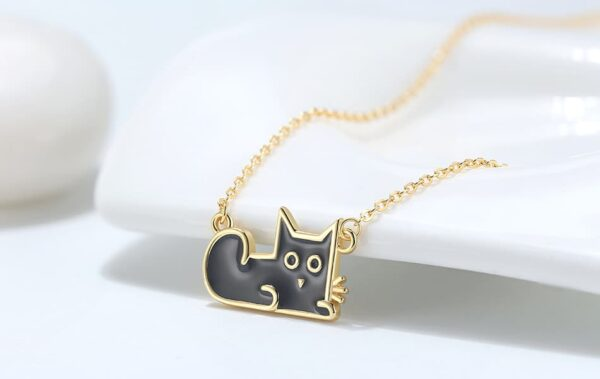 Gold Plated 925 Silver Black Cat Pendant Necklace and Chain