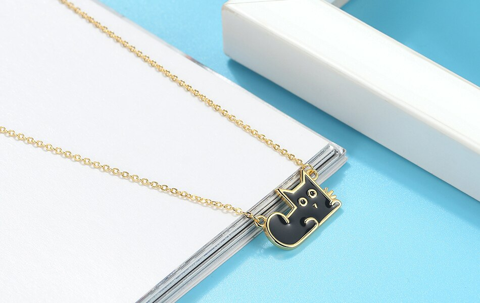 Effie Queen Charms Animal Black Cat Pendant Necklace 925 Silver Neck Chain Original Design Unisex Jewelry Party Gift EQN04