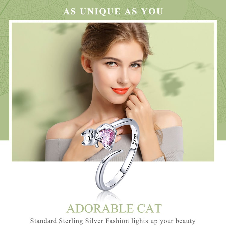 Beautiful Sterling Silver Cat Ring