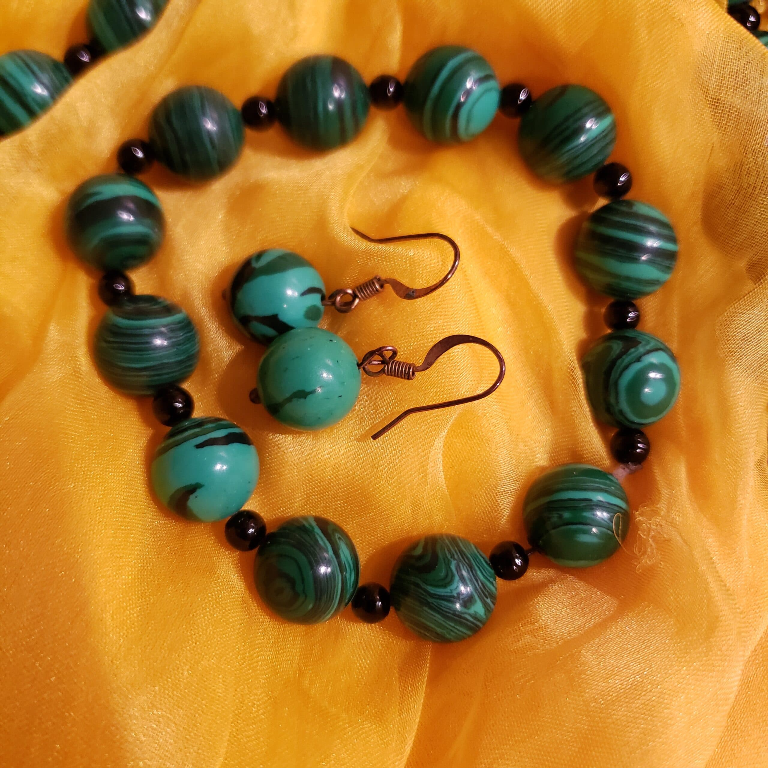 malachite necklace and earrings