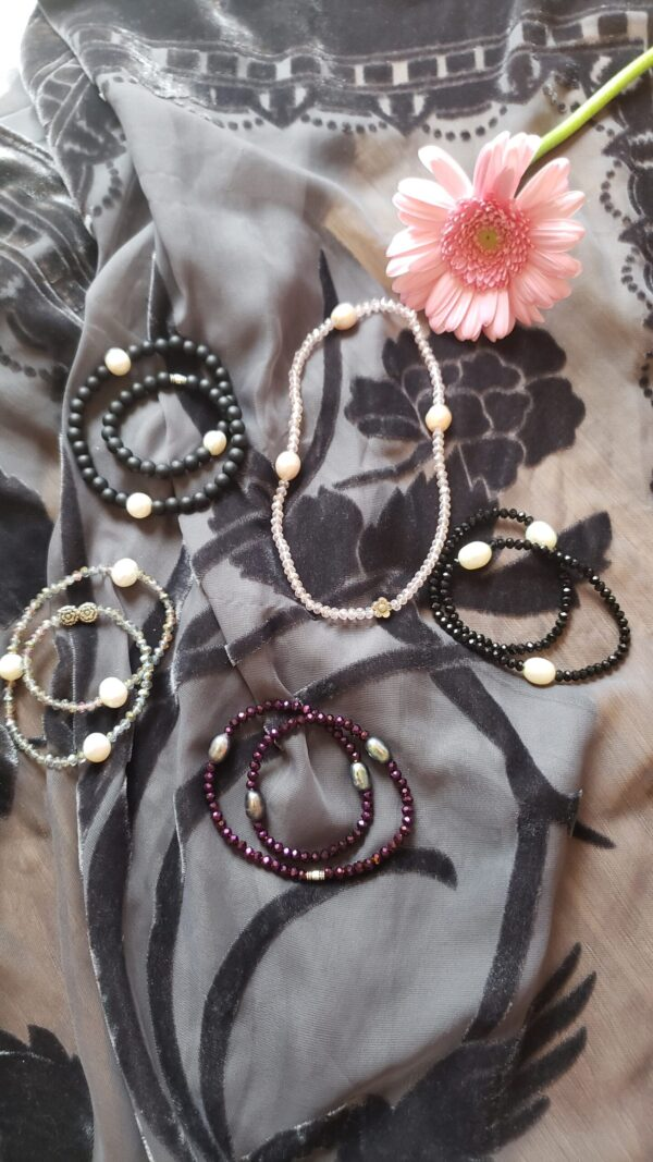 Pearl and Crystal double wrap bracelets