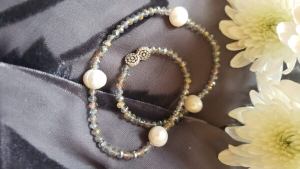 Silver crystal and pearl bracelet