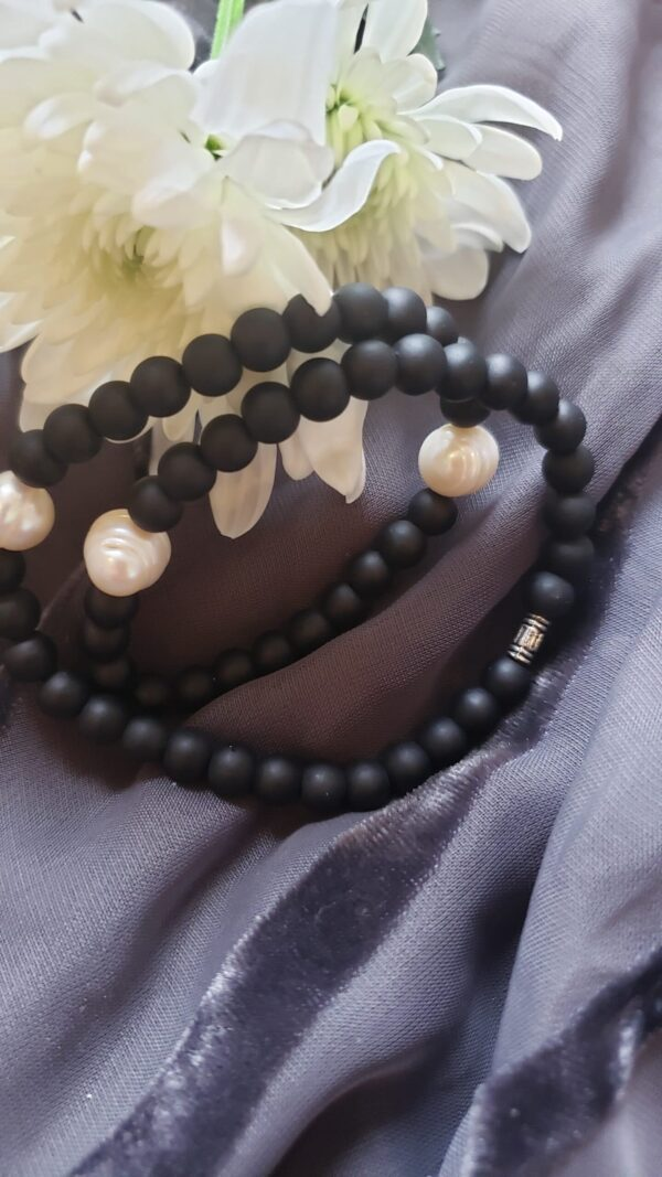 pearl and black bracelet