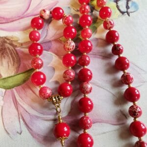 Coral And Red Jasper Necklace And Bracelet