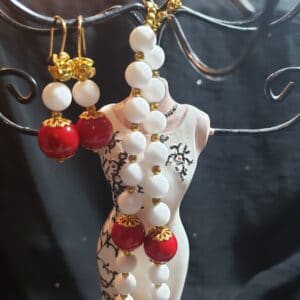coral and white jade necklace and earrings
