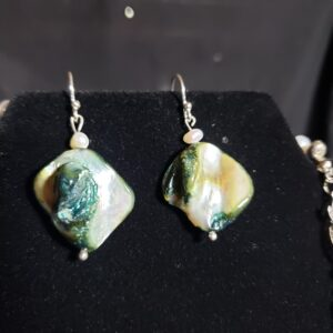 Natural Abalone Shell And Freshwater Pearl Necklace And Earrings