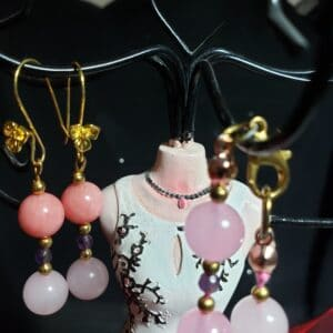 Rose Quartz, Morganite And Amethyst Necklace And Earrings
