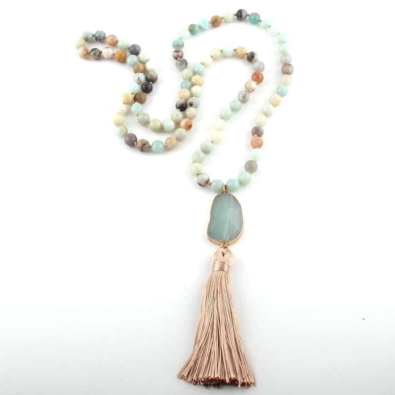 stunning natural stone meditation and yoga necklace