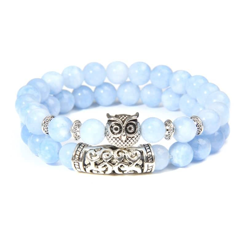 2Pcs/Set Natural Stone Beads Bracelet Owl Charm Lucky Energy Bracelet