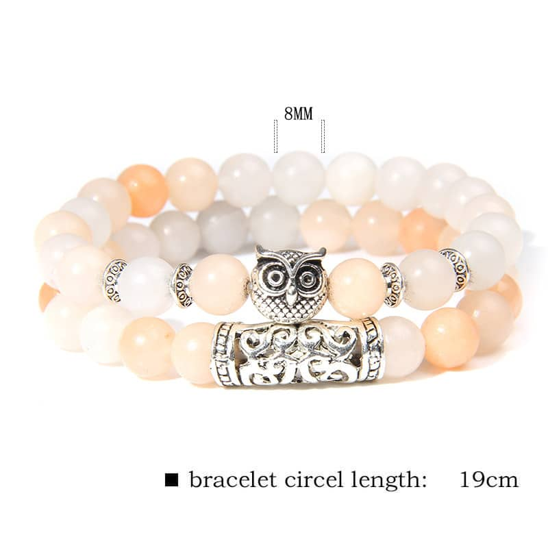 2Pcs/Set Natural Pink Zebra Stone Beads Bracelet Women Fashion Owl Charm Lucky Energy Bracelet For Women Girls Jewelry Gifts