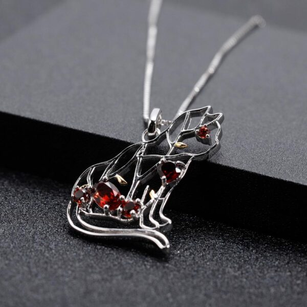 Red Garnet 925 Sterling Silver Cat Necklace