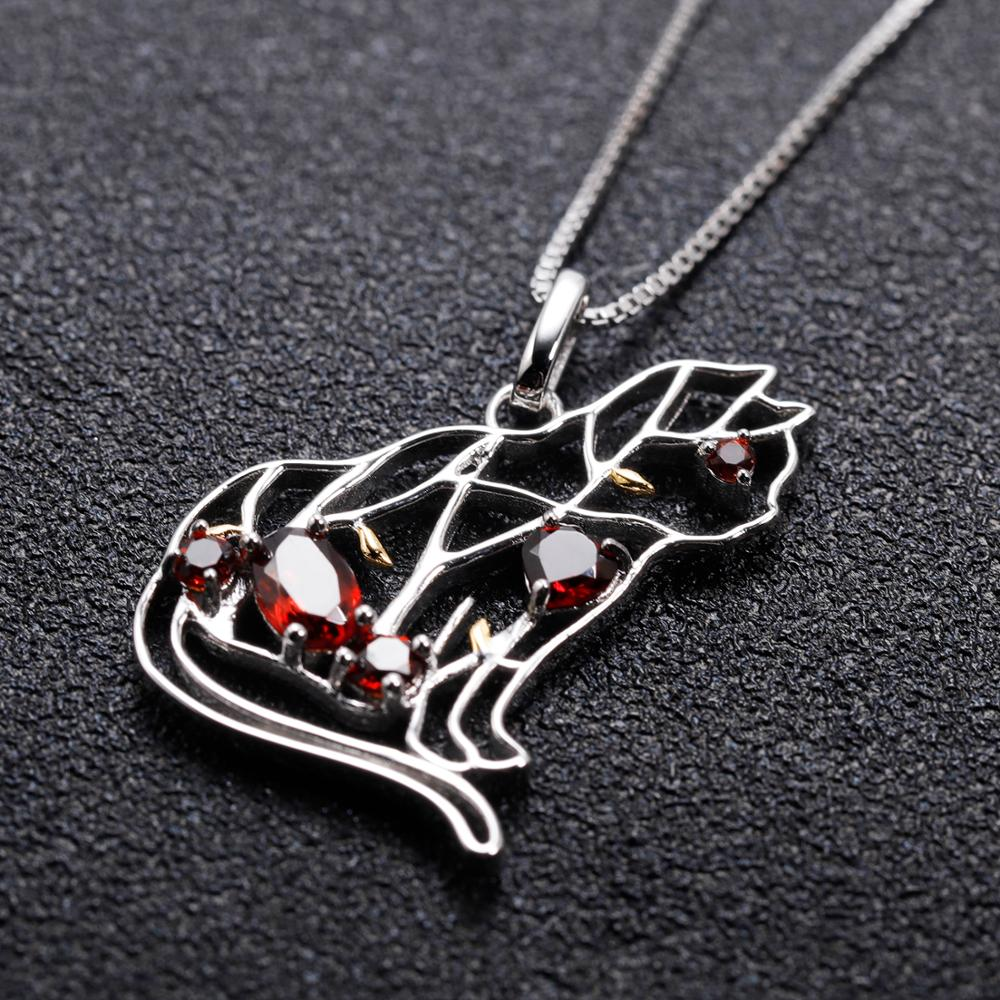 Red Garnet 925 Sterling Silver Cat Pendant