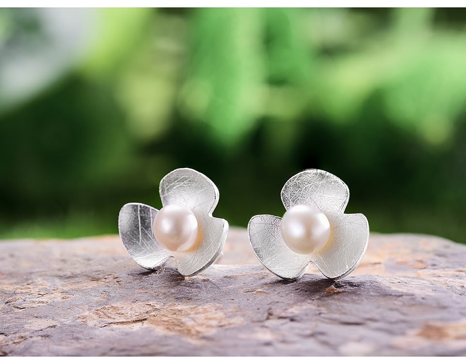 Lotus Fun Real 925 Sterling Silver Natural Pearl Earrings Fine Jewelry 18K Gold Clover Flower Stud Earrings for Women Brincos