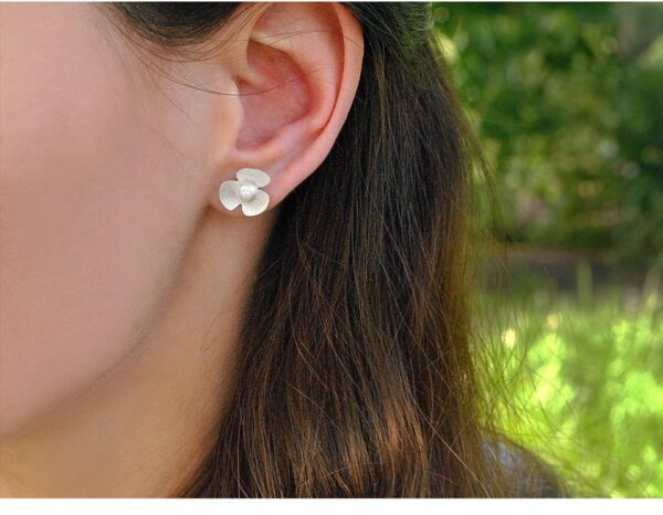 Natural Pearl Silver Clover Earrings