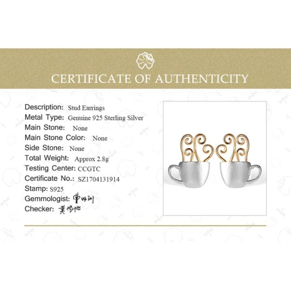 Silver Hot Coffee Cup Earrings