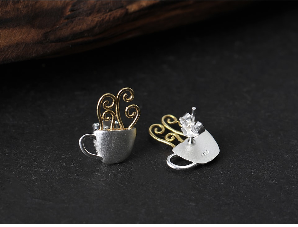 Lotus Fun Real 925 Sterling Silver Earrings Original Handmade Fine Jewelry Hot Coffee Cup Fashion Stud Earrings For Women Gift
