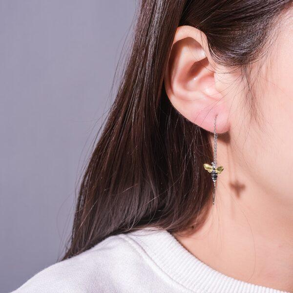 Honey Bee Earrings In Silver