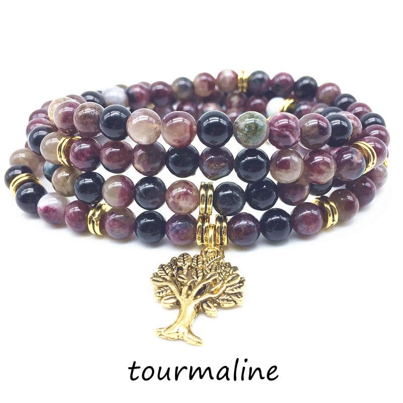Natural Stone Beads Round Mala Yoga Bracelet Elastic Stretchy With Metal Tree Charms Necklace Woman Bangle Drop Shipping