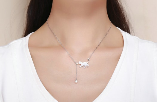 Silver Chain Cat With Ball Pendant Necklace