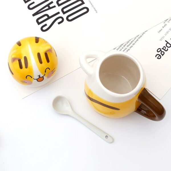 Cute Cat Mug With Spoon And Lid