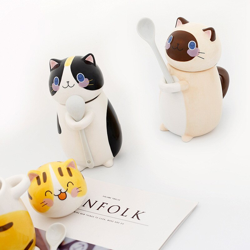Cute Cat Shaped Ceramic Coffee Mug With Spoon