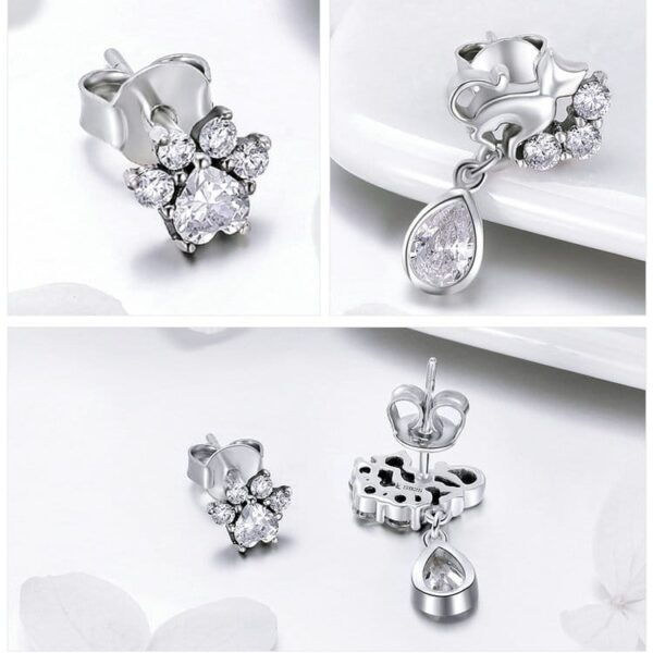 cat mismatch earrings in silver and cubic zirconia