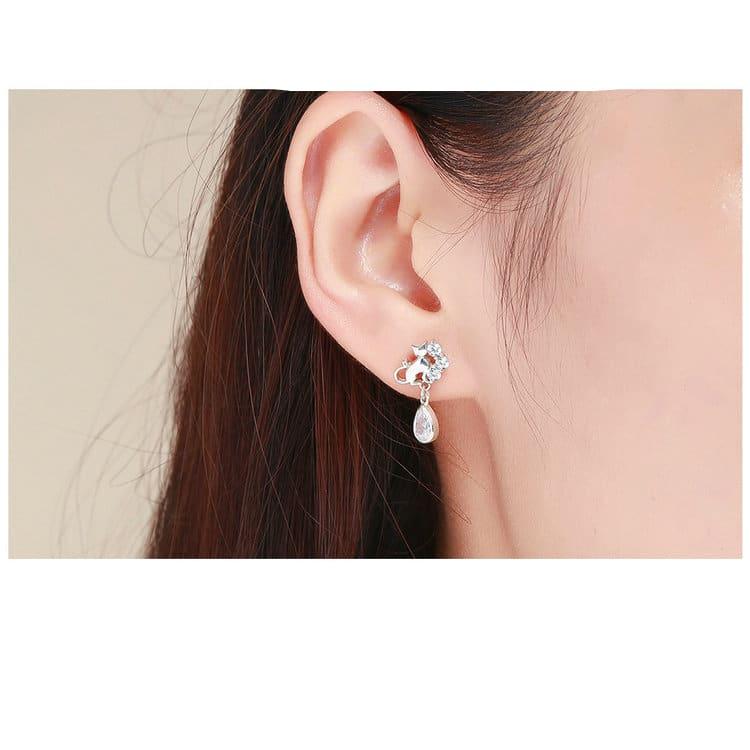 Dazzling Silver Cat Stud Earrings