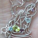 Mixed Gemstone 925 Sterling Silver Cat Necklace
