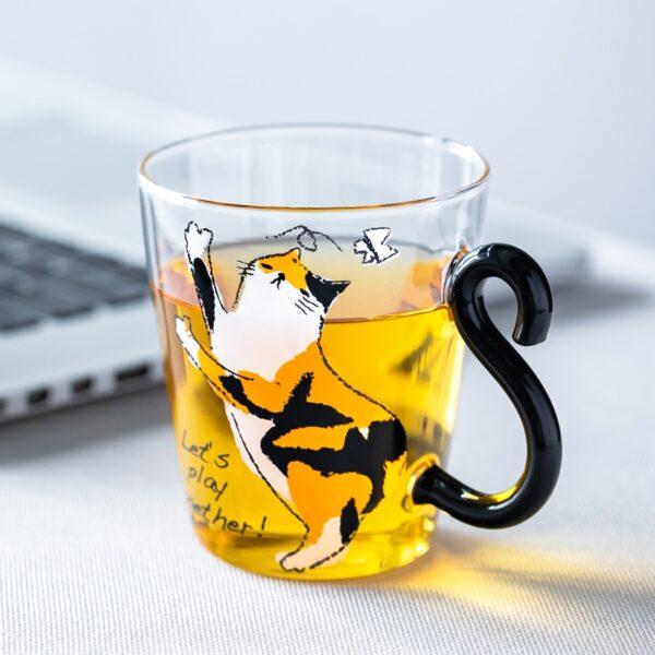glass cat cup
