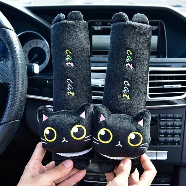 Cute Black Cat Car Set