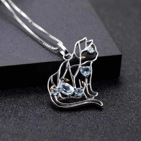 Blue Topaz 925 Sterling Silver Cat Necklace