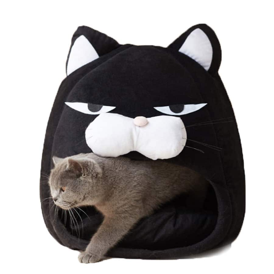 Foldable Cat Bed Soft Sofa Cushion Cartoon Pet House Warm Kennel Puppy Cats Cave Tent Waterproof Bottom Sleep Bag Pet Supplies