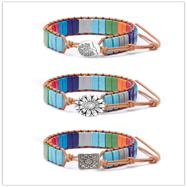Chakra Natural Stone Leather Bracelet