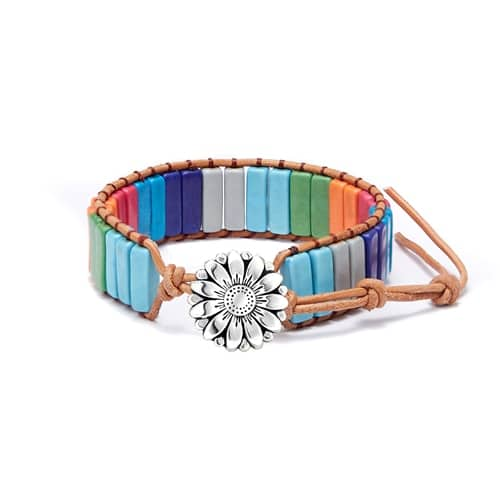 7 Chakra Bracelet Handmade Multi Color Natural Stone Tube Beads Handmade Leather Charm Bracelet for Women Men Yoga Jewelry Gift