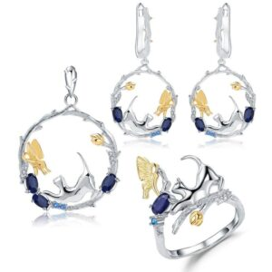 Handmade Blue Sapphire Cat and Butterfly Sterling Silver Set