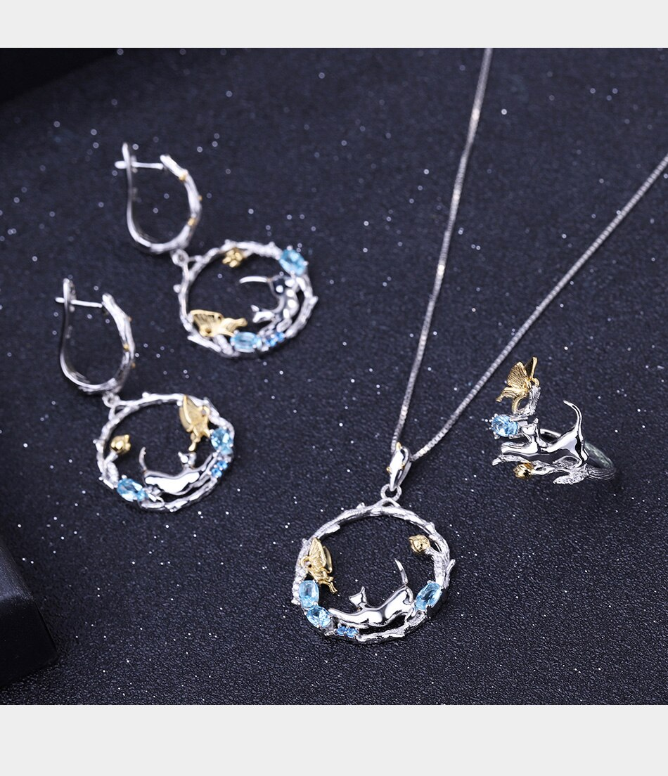 Blue Topaz Silver Handmade Cat And Butterfly Set