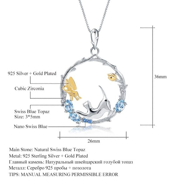 Blue Topaz Silver Handmade Cat And Butterfly Necklace
