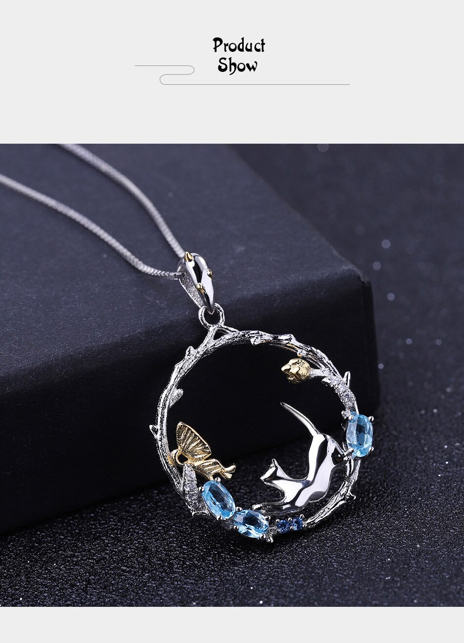 GEM'S BALLET 0.81Ct Natural Swiss Blue Topaz 925 Sterling Silver Round Cat & butterfly Flower Pendant Necklace for Women Jewelry