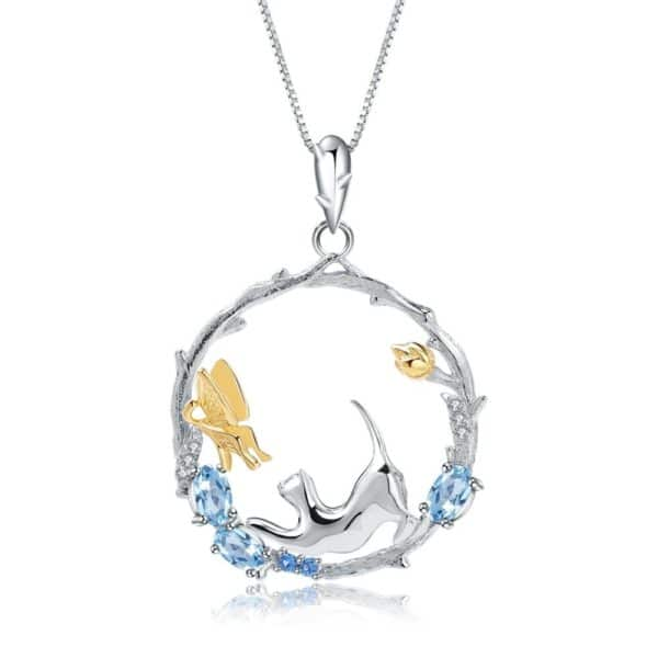 Blue Topaz Silver Handmade Cat and Butterfly