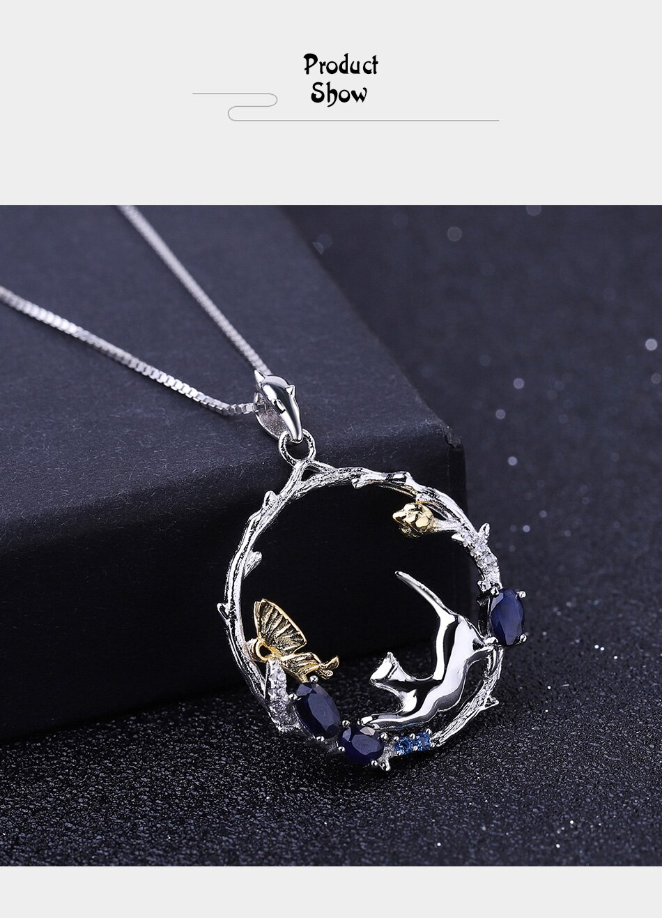 Natural Blue Sapphire Silver Cat And Butterfly Necklace