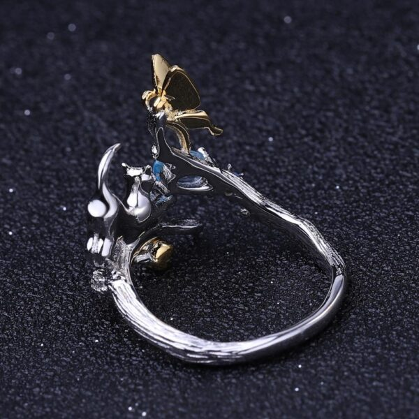 Swiss Blue Topaz 925 Stirling Silver Cat And Butterfly Ring