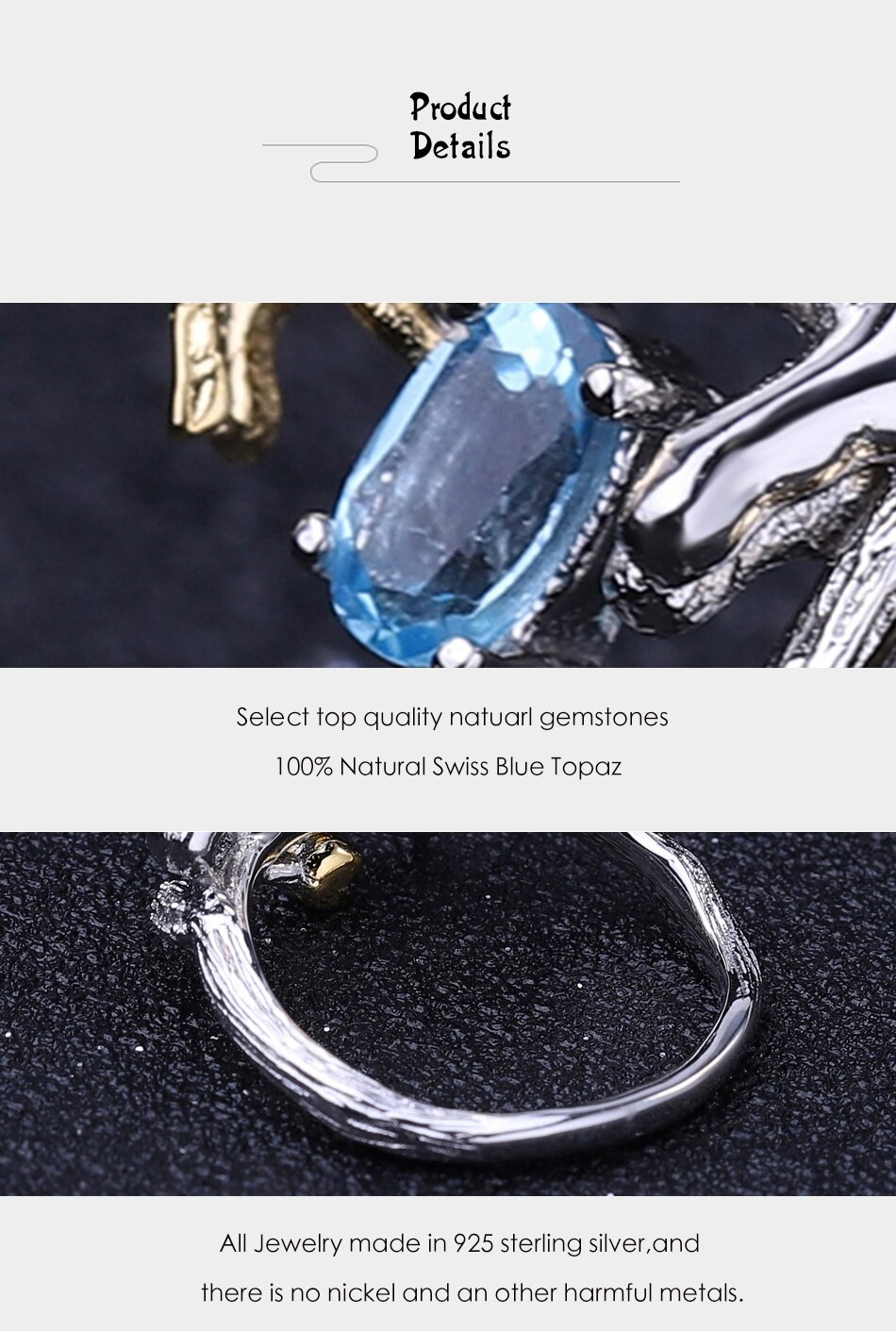 Blue Topaz 925 Stirling Silver Cat And Butterfly Ring