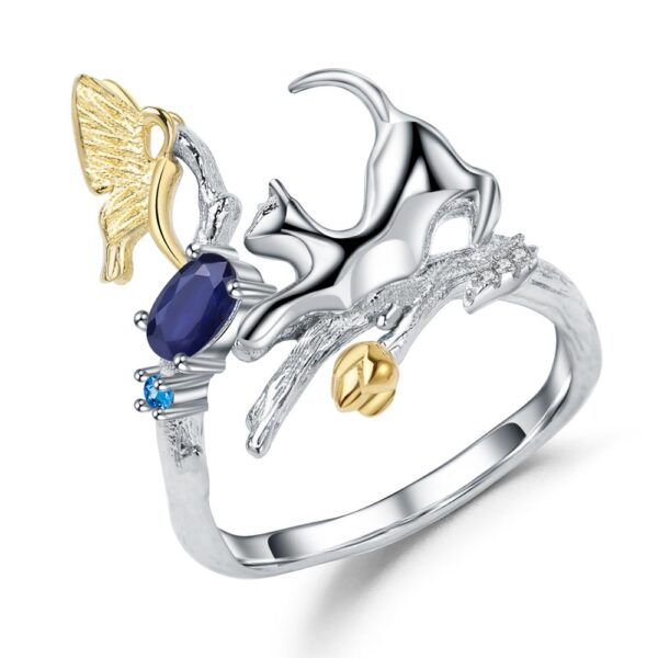 Blue Topaz Silver Cat and Butterfly Ring