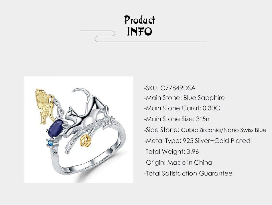 Natural Blue Sapphire Cat &Amp; Butterfly Ring