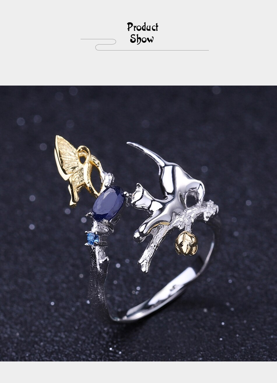 Gem's Ballet Real 925 Sterling Silver Adjustable Open Ring 0.30Ct Natural Blue Sapphire Cat &Amp; Butterfly Rings For Women Jewelry