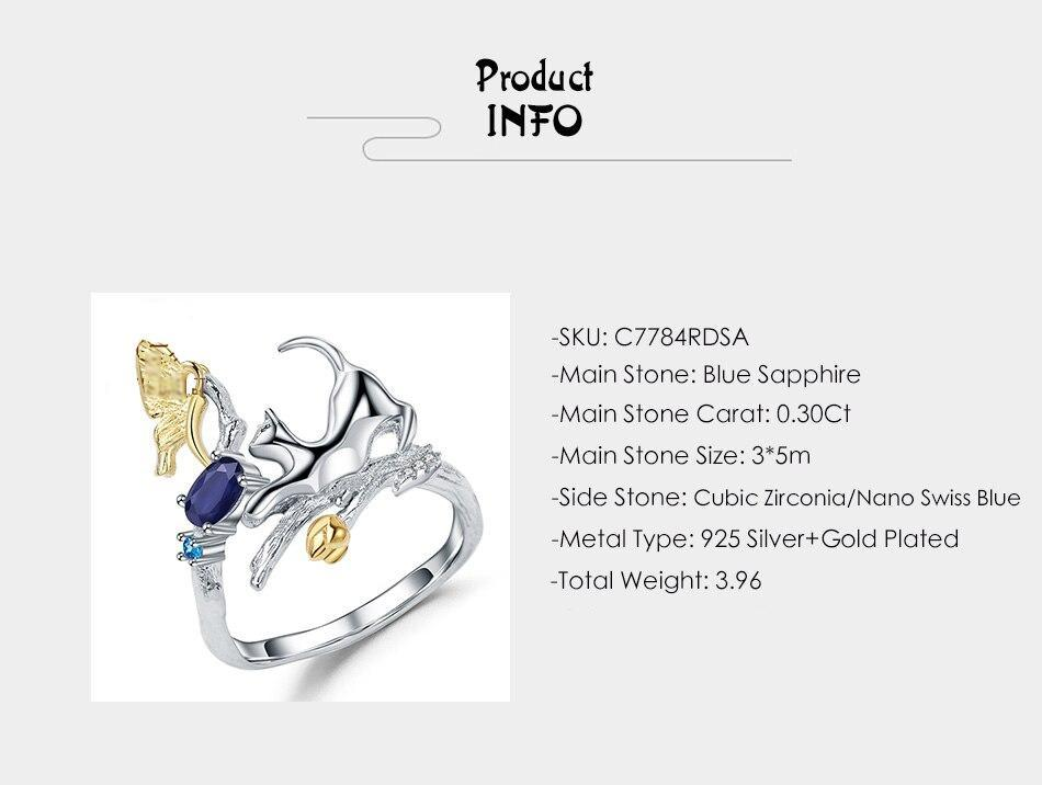 natural blue sapphire cat butterfly ring
