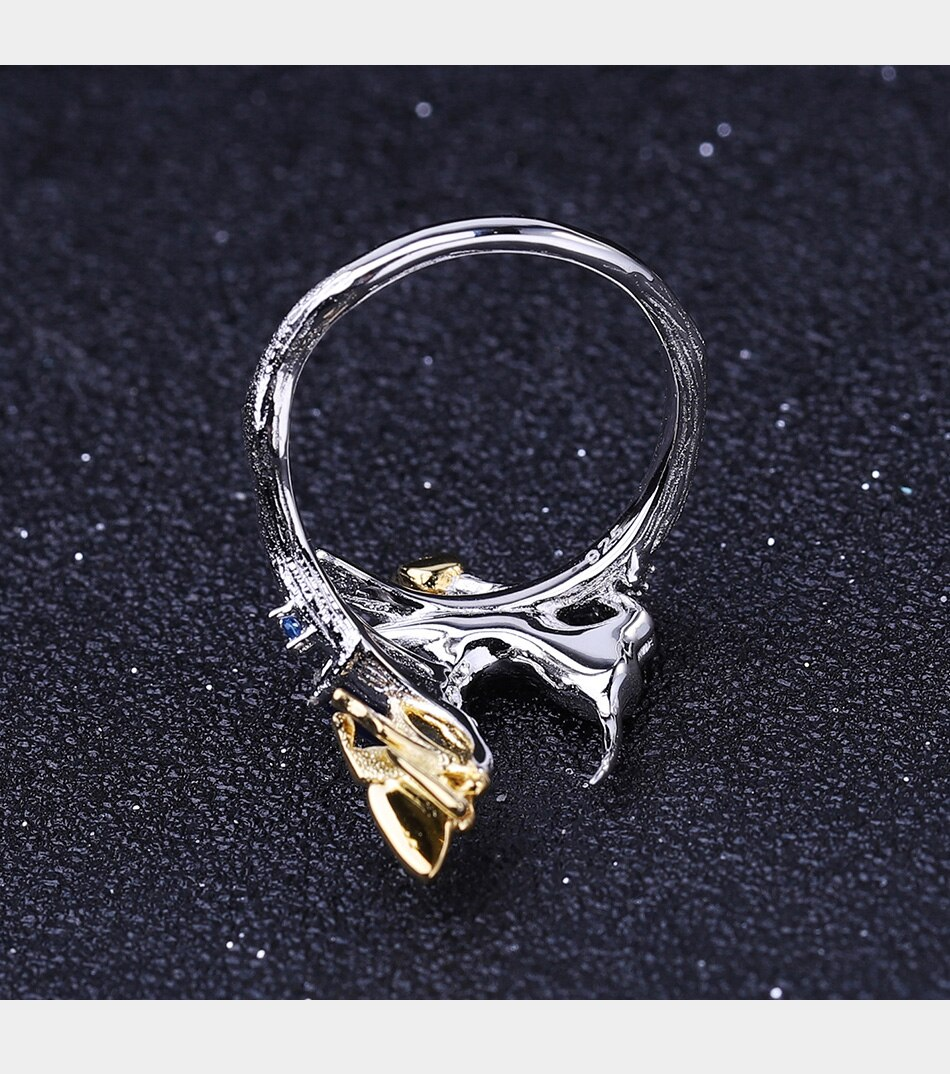 blue sapphire cat butterfly silver ring