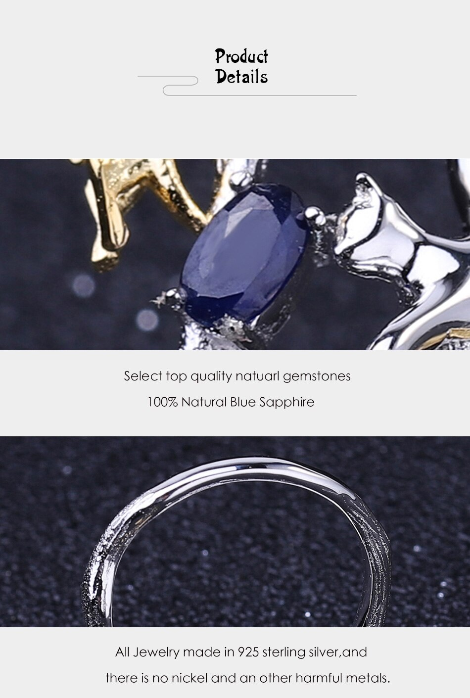 GEM'S BALLET Real 925 Sterling Silver Adjustable Open Ring 0.30Ct Natural Blue Sapphire Cat & butterfly Rings for Women Jewelry