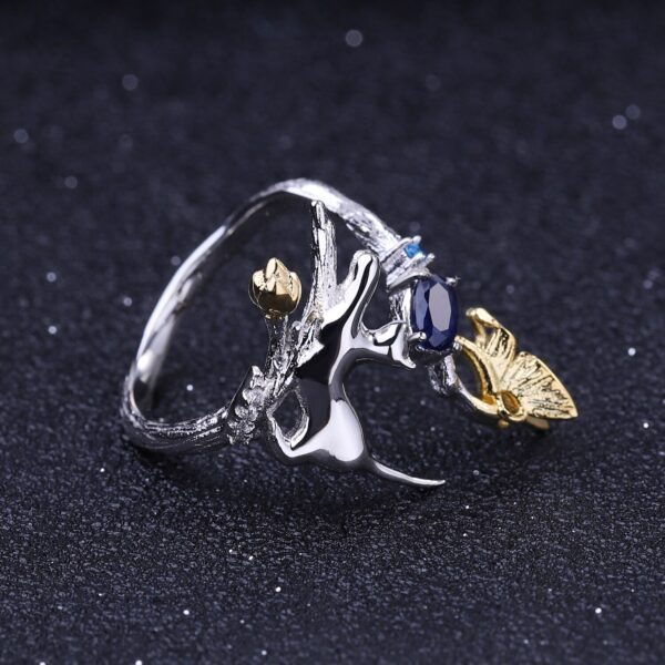 Blue Sapphire Cat And Butterfly Silver Ring